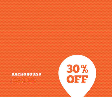 vouchers: Background with seamless pattern. 30% sale pointer tag sign icon. Discount symbol. Special offer label. Triangles orange texture. Vector