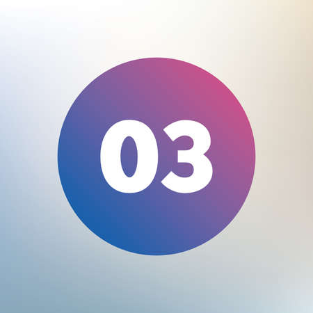 03: Third step sign. Loading process symbol. Step three. Icon on blurred background. Vector
