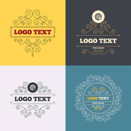 ut: Vintage flourishes calligraphic. World time sign icon. Universal time globe symbol. Luxury ornament lines. Vector