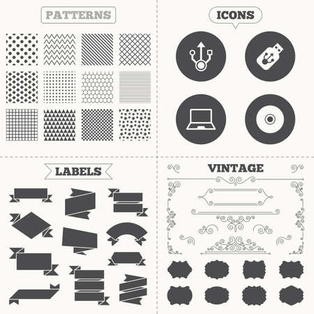 ultrabook: Seamless patterns. Sale tags labels. Usb flash drive icons. Notebook or Laptop pc symbols. CD or DVD sign. Compact disc. Vintage decoration. Vector Illustration
