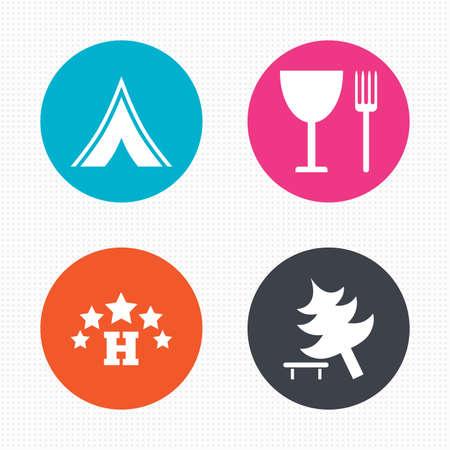 fork road: Botones de c�rculo. Alimentos, hoteles, tiendas de campa�a y acampar �rboles iconos. Copa y tenedor. Divida �rbol. Las se�ales de tr�fico. Perfecta textura cuadrados. Vector
