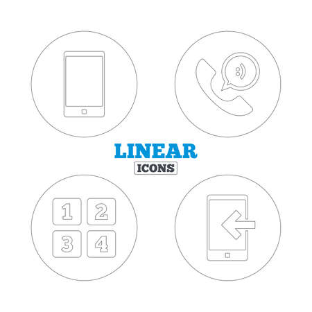 incoming: Phone icons. Smartphone incoming call sign. Call center support symbol. Cellphone keyboard symbol. Linear outline web icons. Vector