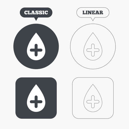 Water drop with plus sign icon. Softens water symbol. Classic and line web buttons. Circles and squares. Vector