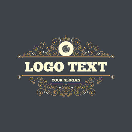 nick: Wood sign icon. Tree growth rings. Tree trunk cross-section with nick. Flourishes calligraphic ornament. Vector