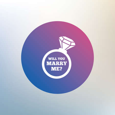 will you marry me: Will you marry me ring sign icon. Engagement symbol. Icon on blurred background. Vector