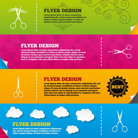 snip: Flyer brochure designs. Scissors icons. Hairdresser or barbershop symbol. Scissors cut hair. Cut dash dotted line. Tailor symbol. Frame design templates. Vector Illustration