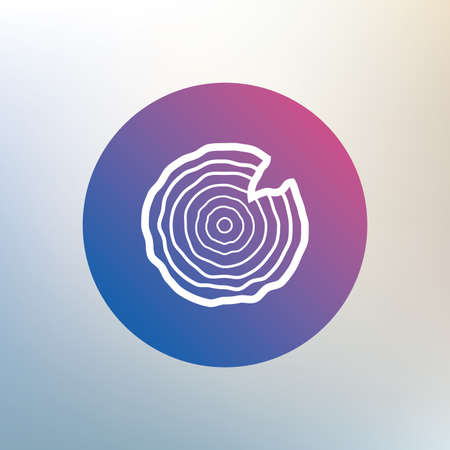 nick: Wood sign icon. Tree growth rings. Tree trunk cross-section with nick. Icon on blurred background. Vector