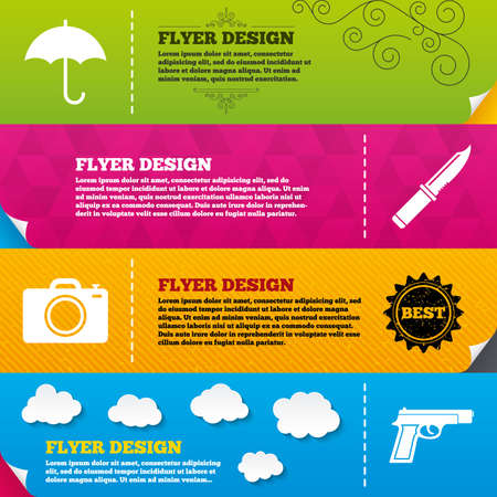 edged: Flyer brochure designs. Gun weapon icon.Knife, umbrella and photo camera signs. Edged hunting equipment. Prohibition objects. Frame design templates. Vector Illustration