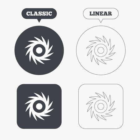 saw blade: Saw circular wheel sign icon. Cutting blade symbol. Classic and line web buttons. Circles and squares. Vector Illustration
