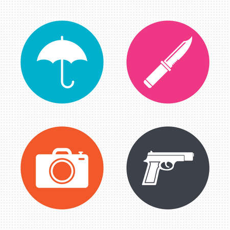 edged: Circle buttons. Gun weapon icon.Knife, umbrella and photo camera signs. Edged hunting equipment. Prohibition objects. Seamless squares texture. Vector Illustration