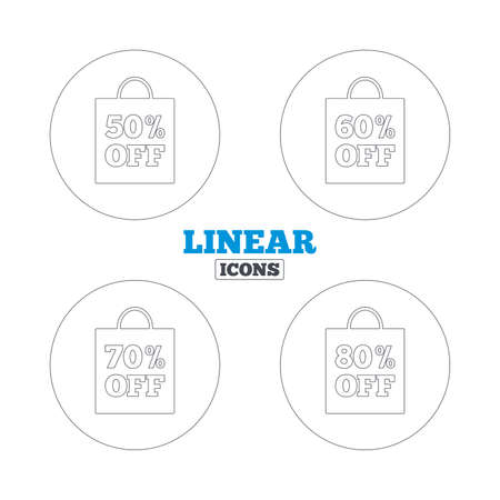 60 70: Sale bag tag icons. Discount special offer symbols. 50%, 60%, 70% and 80% percent off signs. Linear outline web icons. Vector Illustration