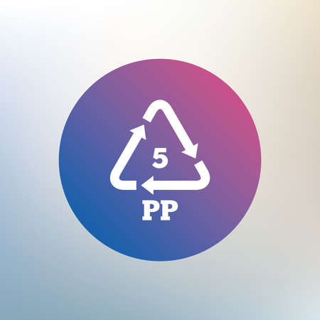polymer: PP 5 icon. Polypropylene thermoplastic polymer sign. Recycling symbol. Icon on blurred background. Vector
