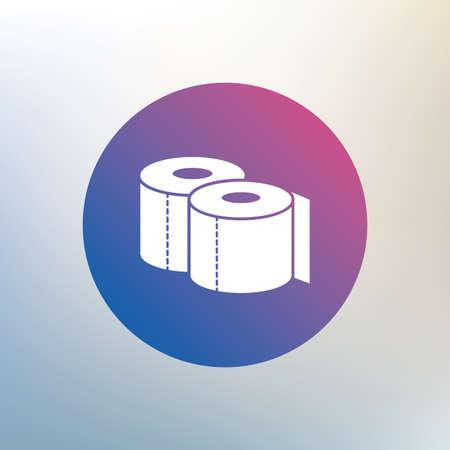 トイレット ペーパーは記号アイコンです。WC ロール シンボル。背景をぼかした写真のアイコンを。ベクトル