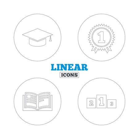 web cap: Graduation icons. Graduation student cap sign. Education book symbol. First place award. Winners podium. Linear outline web icons. Vector