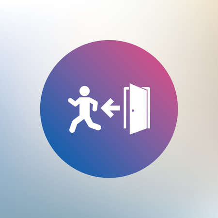 emergency exit sign icon: Emergency exit with human figure sign icon. Door with left arrow symbol. Fire exit. Icon on blurred background. Vector