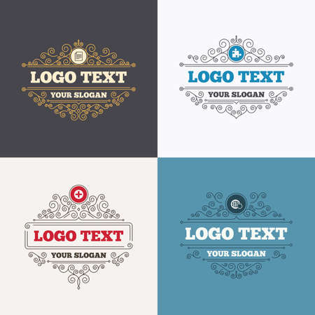 globe puzzle: Flourishes calligraphic emblems. Plus add circle and puzzle piece icons. Document file and globe with hand pointer sign symbols. Luxury ornament lines. Vector