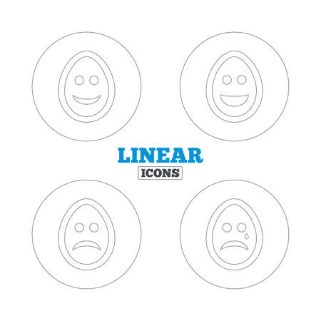 tear: Eggs happy and sad faces icons. Crying smiley with tear symbols. Tradition Easter Pasch signs. Linear outline web icons. Vector Illustration
