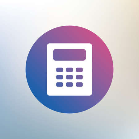 calc: Calculator sign icon. Bookkeeping symbol. Icon on blurred background. Vector Illustration