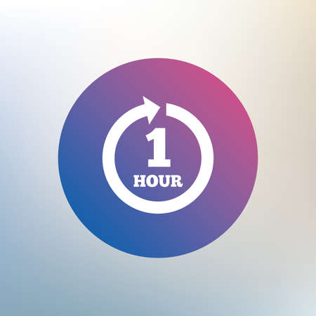 renewal: Every hour sign icon. Full rotation arrow symbol. Icon on blurred background. Vector