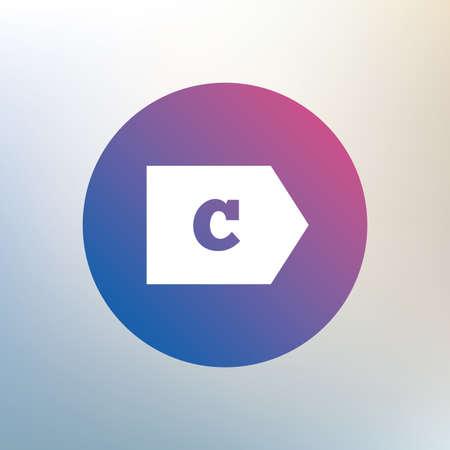 consumo energia: L'efficienza energetica di classe C sign icon. Energia simbolo consumi. Icona su sfondo sfocato. Vettore