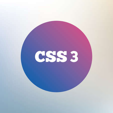 css3: CSS3 sign icon. Cascading Style Sheets symbol. Icon on blurred background. Vector