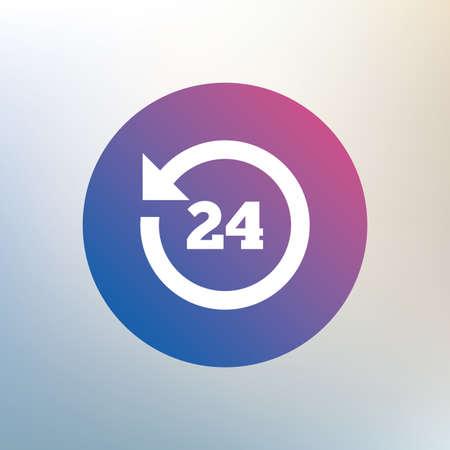 24 uur klantenservice. Rond de klok steun symbool. Pictogram op onscherpe achtergrond. Vector
