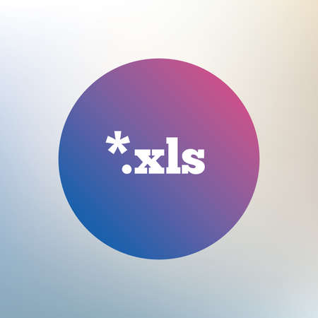 xls: Excel file document icon. Download xls button. XLS file extension symbol. Icon on blurred background. Vector Illustration