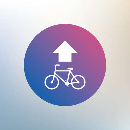 straight path: Bicycle path trail sign icon. Cycle path. Up straight arrow symbol. Icon on blurred background. Vector