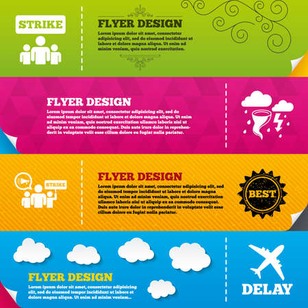 bad weather: Flyer brochure designs. Strike icon. Storm bad weather and group of people signs. Delayed flight symbol. Frame design templates. Vector Illustration
