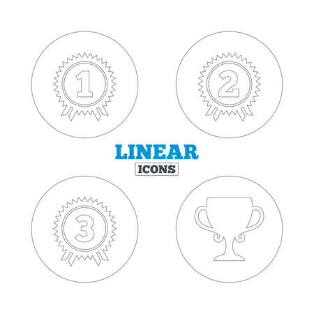 second prize: First, second and third place icons. Award medals sign symbols. Prize cup for winner. Linear outline web icons. Vector