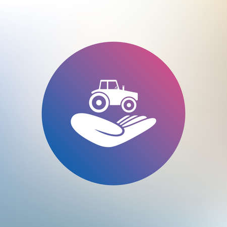 damage: Agricultural transport insurance sign icon. Hand holds tractor. Protection vehicle from damage and accidents. Icon on blurred background. Vector
