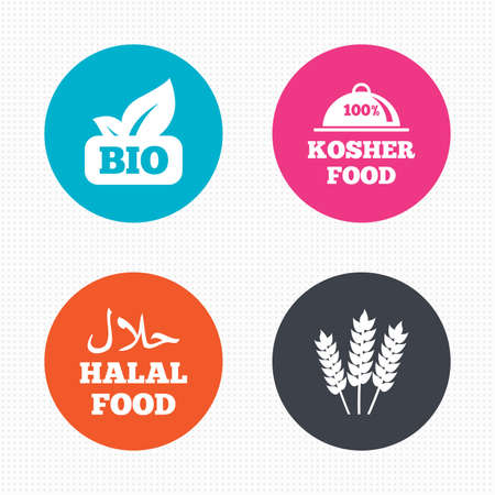 kosher: Circle buttons. Natural Bio food icons. Halal and 100% Kosher signs. Gluten free agricultural symbol. Seamless squares texture. Vector