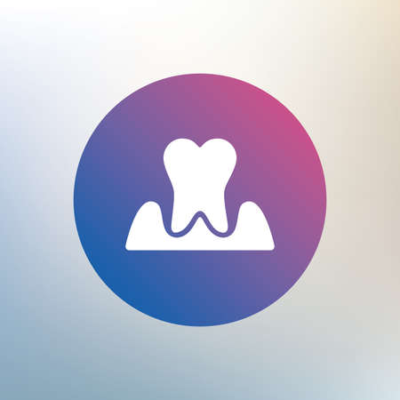 gingivitis: Parodontosis tooth icon. Gingivitis sign. Inflammation of gums symbol. Icon on blurred background. Vector