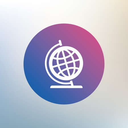 geography background: Globe sign icon. Geography symbol. Globe on stand for studying. Icon on blurred background. Vector