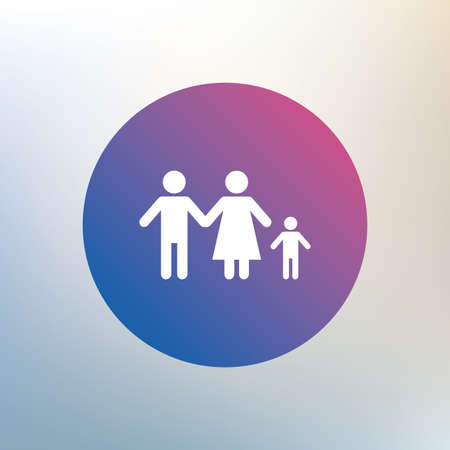 family with one child: Family with one child sign icon. Complete family symbol. Icon on blurred background. Vector
