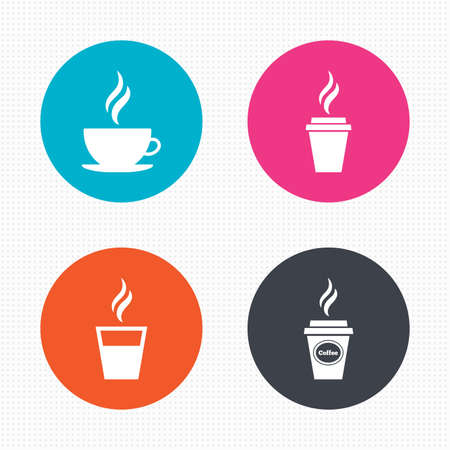 takeout: Circle buttons. Coffee cup icon. Hot drinks glasses symbols. Take away or take-out tea beverage signs. Seamless squares texture. Vector