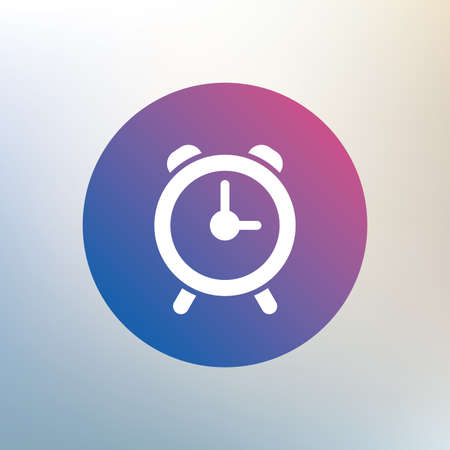 wake: Alarm clock sign icon. Wake up alarm symbol. Icon on blurred background. Vector
