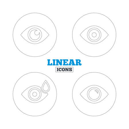 red eye: Eye icons. Water drops in the eye symbols. Red eye effect signs. Linear outline web icons. Vector