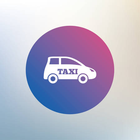 transport icon: Taxi car sign icon. Hatchback symbol. Transport. Icon on blurred background. Vector