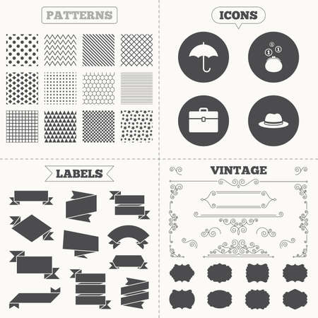 business case: Seamless patterns. Sale tags labels. Clothing accessories icons. Umbrella and headdress hat signs. Wallet with cash coins, business case symbols. Vintage decoration. Vector