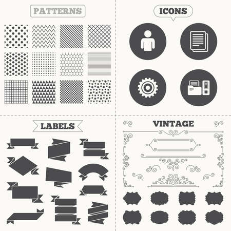 auditing: Seamless patterns. Sale tags labels. Accounting workflow icons. Human silhouette, cogwheel gear and documents folders signs symbols. Vintage decoration. Vector