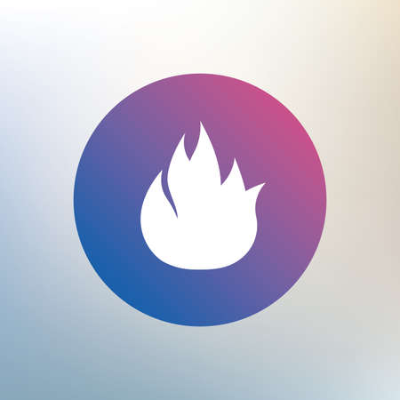 escape: Fire flame sign icon. Fire symbol. Stop fire. Escape from fire. Icon on blurred background. Vector Illustration