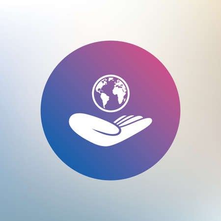 peace stamp: World insurance sign. Hand holds planet symbol. Travel insurance. World peace. Icon on blurred background. Vector