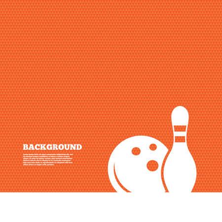 kegelen: Achtergrond met naadloos patroon. Bowling spel teken icoon. Ball met pin skittle symbool. Driehoeken oranje textuur. Vector
