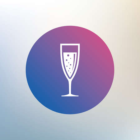 champagne celebration: Glass of champagne sign icon. Sparkling wine with bubbles. Celebration or banquet alcohol drink symbol. Icon on blurred background. Vector