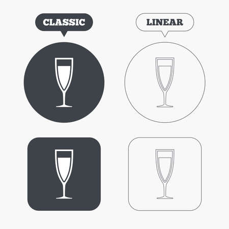 banquet: Glass of champagne sign icon. Sparkling wine. Celebration or banquet alcohol drink symbol. Classic and line web buttons. Circles and squares. Vector