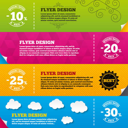 20 to 25: Flyer brochure designs. Sale discount icons. Special offer stamp price signs. 10, 20, 25 and 30 percent off reduction symbols. Frame design templates. Vector Illustration