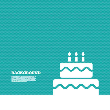 green texture: Background with seamless pattern. Birthday cake sign icon. Cake with burning candles symbol. Triangles green texture. Vector
