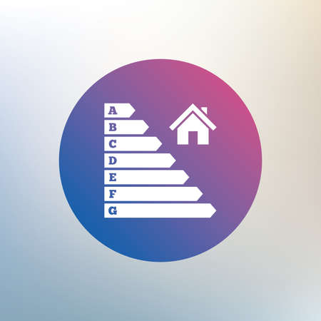 consumption: Energy efficiency icon. Electricity consumption symbol. House building sign. Icon on blurred background. Vector