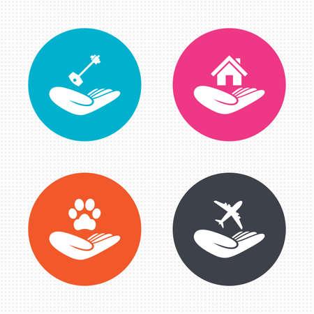 symbol hand: Kreis-Schaltfl�chen. Helfende H�nde Symbole. Shelter f�r Hunde Symbol. Startseite Haus oder Immobilien und Schl�ssel-Zeichen. Flugreiseversicherung. Nahtlose Quadrate Textur. Vektor